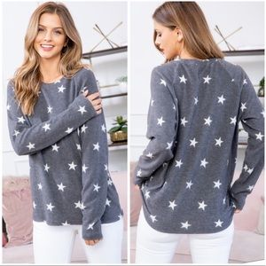 Charcoal long sleeve star print top